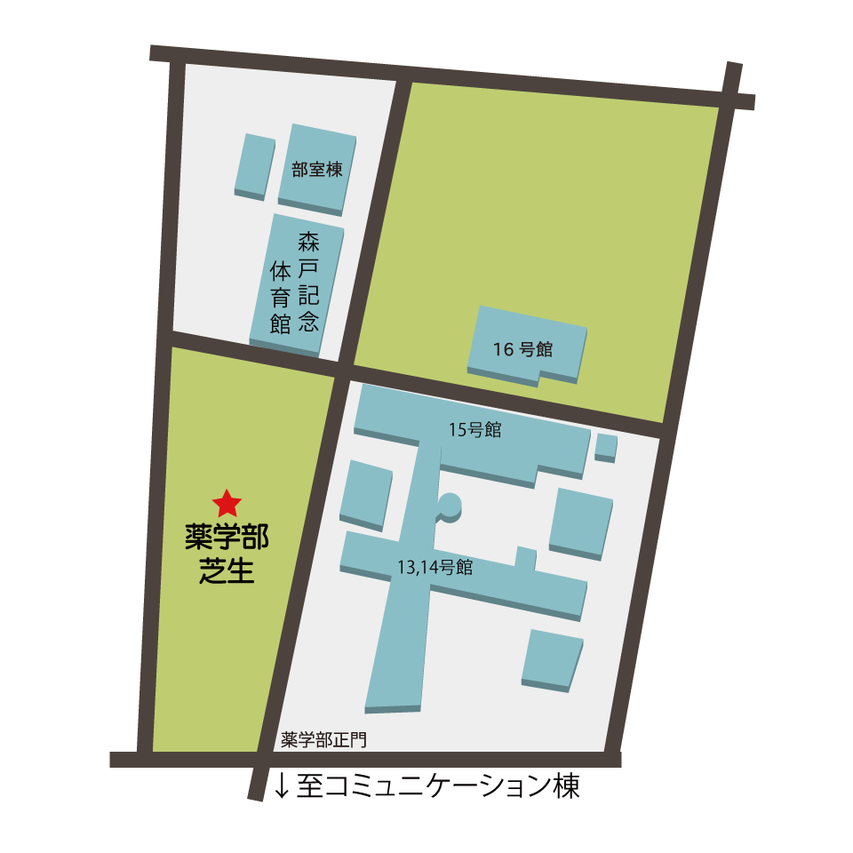 薬学部芝生までの地図